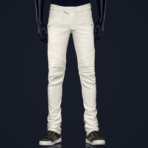 Balmain H M Jeans Balmain Mens Quilted Biker Ysl Style Dolce